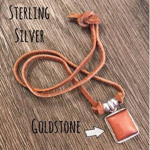 Sterling Silver Goldstone Pendant on Leather Cord